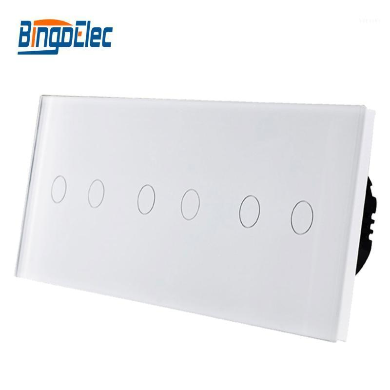 Bingoelec EU Type Switch, 6 Gang 1/2 Way Wall Lamp Touch Switch, Free Combination Crystal Glass Panel, AC110-250V Hot Sale1
