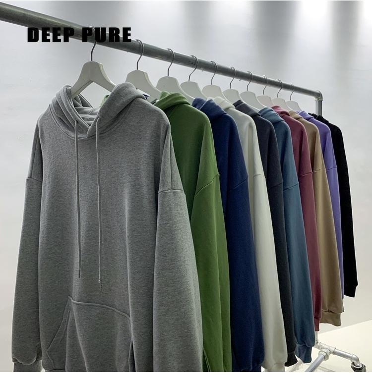 Oversized man Sweatshirt cotton hoodie Harajuku Mens Clothing streetwear hoodies Solid color hooded Sweatshirts Womens Coat Male