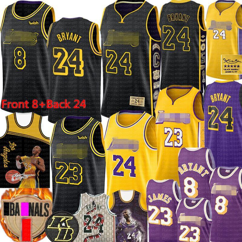 Брайант Мужчины Лос-АнджелесЛейкерсДжерси NCAA LeBron 23 James 2 4 Брайант ЛейкерсБаскетбол Джерси Черное золото фиолетовый