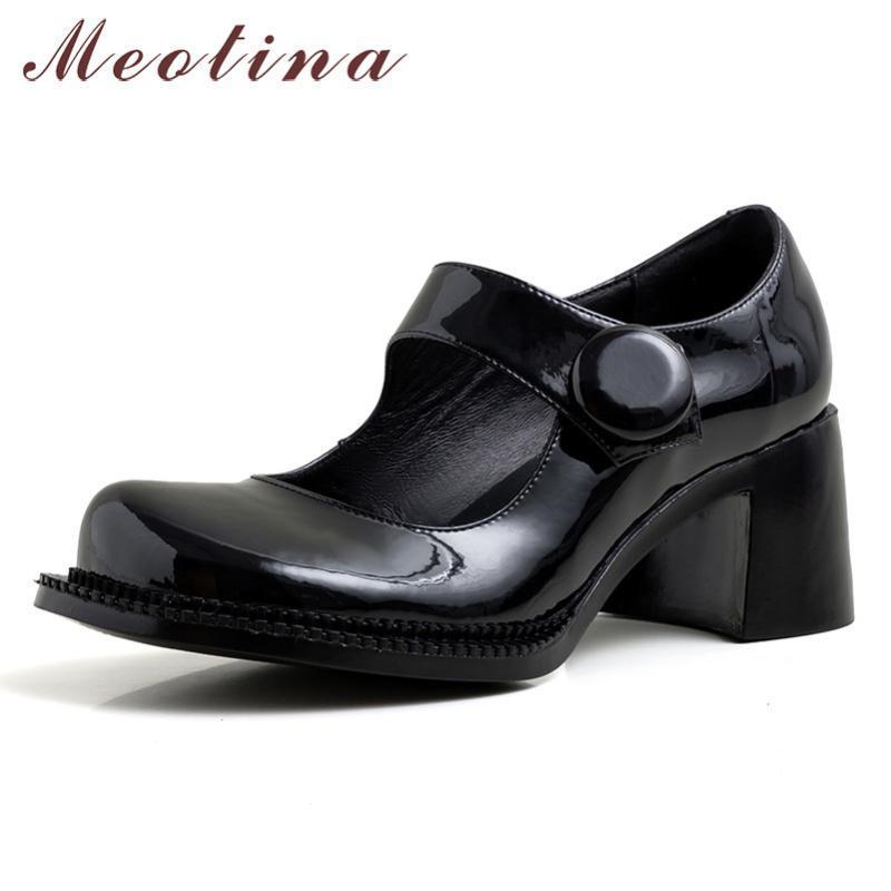 Meotina Высокие каблуки Женщины насосы Природные натуральная кожа Толстые Высокие каблуки Мэри Джейнс обувь лакированная кожа круглый носок туфли Lady 39