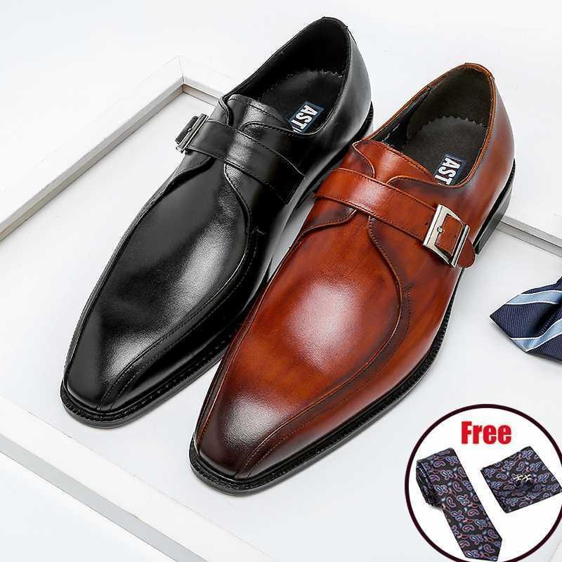 Phénkang hommes italien chaussures de monk italien cuir véritable cuir pointu tante aiguille hommes robe oxford brogues chaussures plate-forme de mariage1
