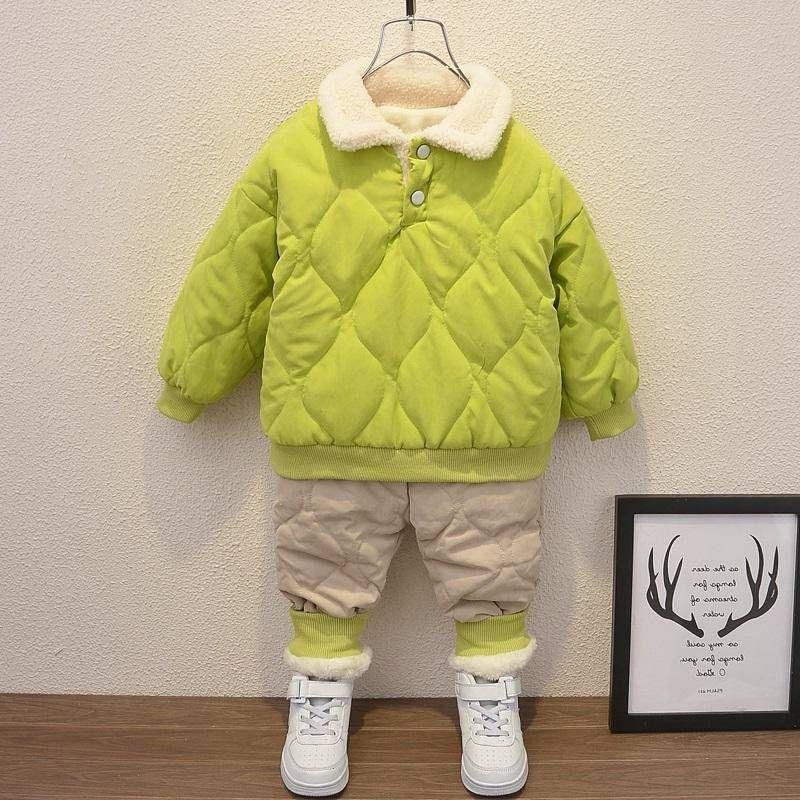 Jungen Winterkleidung Sets Kinder Mode Dicke Samt Mäntel Hosen 2 stücke Warme Trainingsanzüge Für Baby Junge Kinder Jogging Anzüge Outfits Y1117