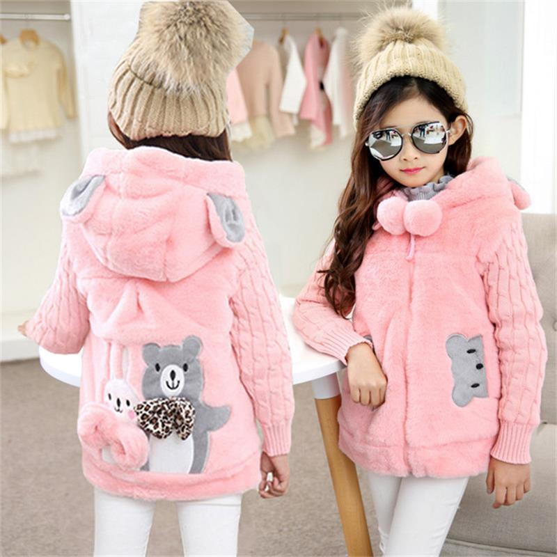 Girls Jacket 2020 Autumn Winter Jackets For Girls Wool Coat Kids Warm Outerwear Coats For Girls Clothes Children Cartoon Jacket F1221