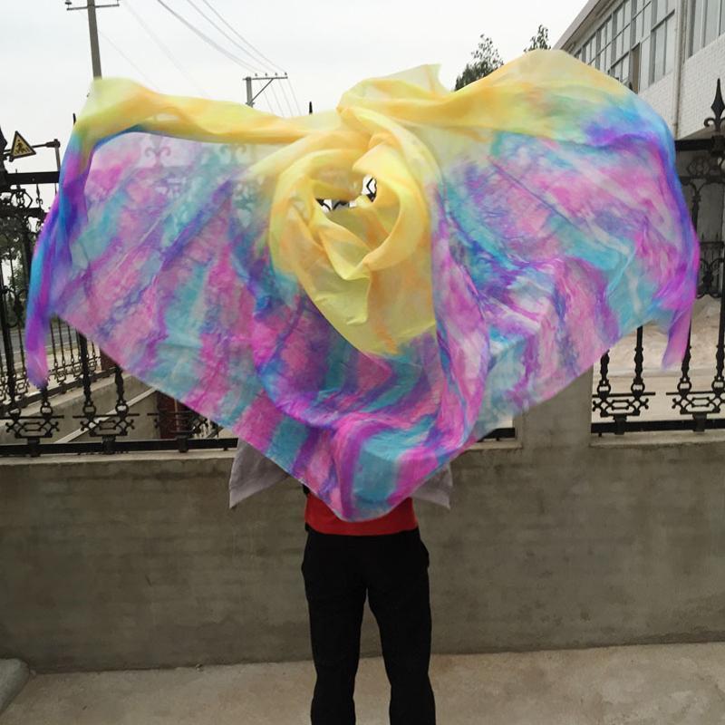 무대 착용 넥타이 - 염료 배꼽 춤 100 % 진짜 실크 베일 그라데이션 컬러 핸드 스카프 숄 춤 또는 2 크기