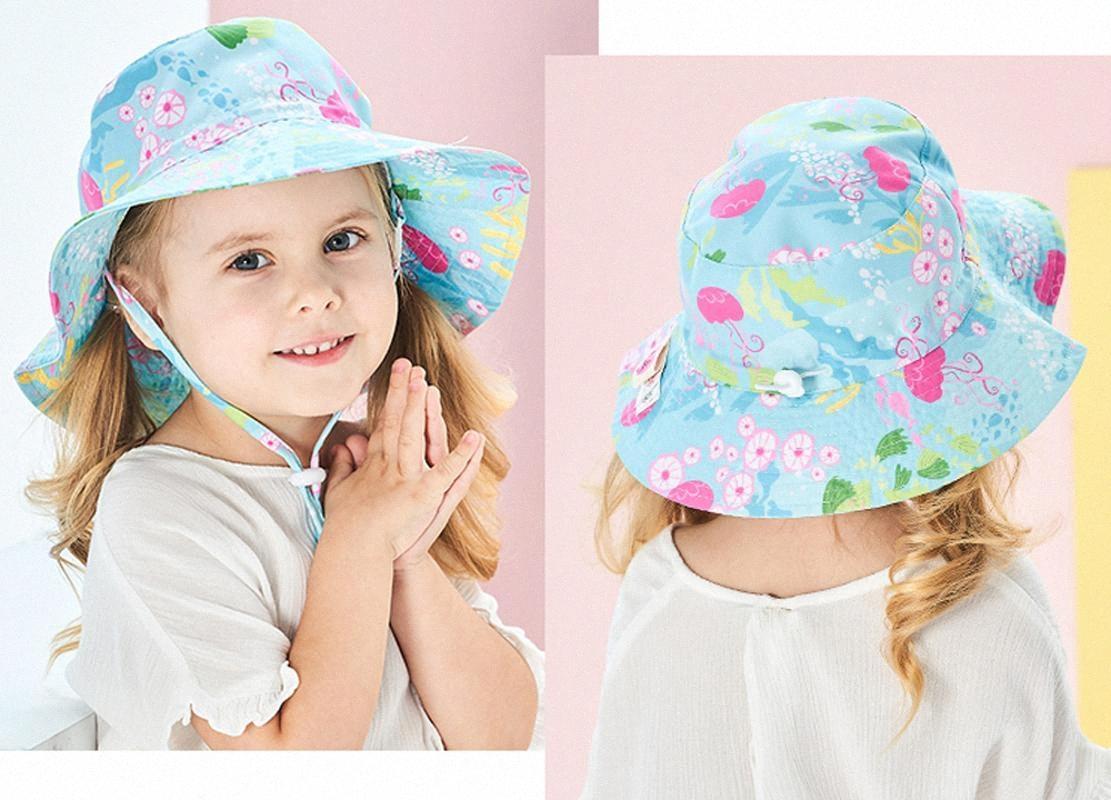 Tou-bambino ragazzo e una ragazza Ocean World sunhat bambino UPF50 + cappello della spiaggia di estate dei capretti cotone bello Big tesa del cappello bambino Outdoor prodotto 1pc Agav #