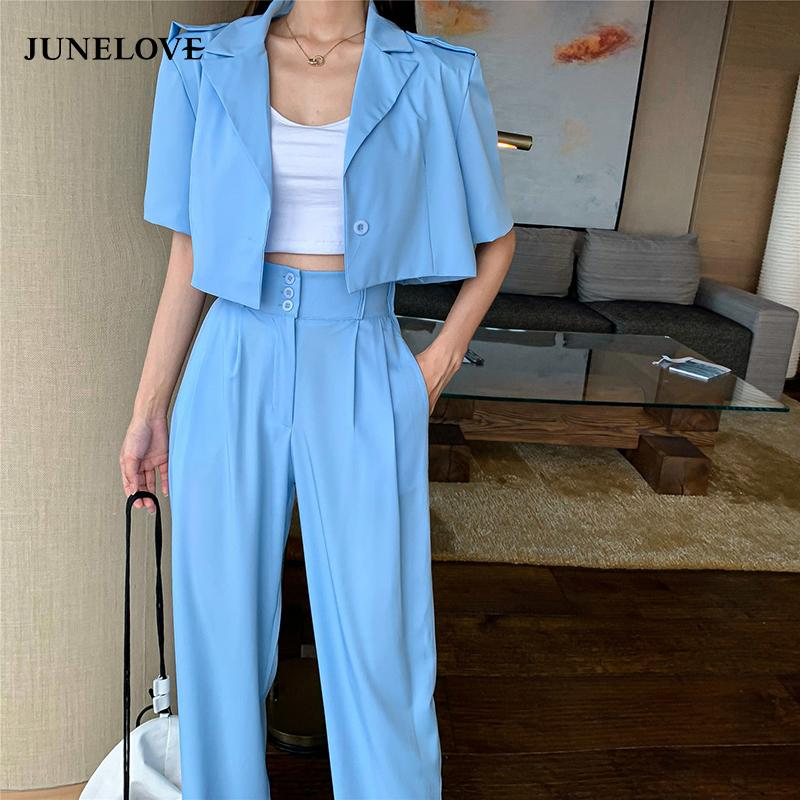 JuneLove Women New Spring Casual Two Pieces Vintage Office Lady Single Breasted Blazers &Pants Street Short Blazers Pants Suits 201009