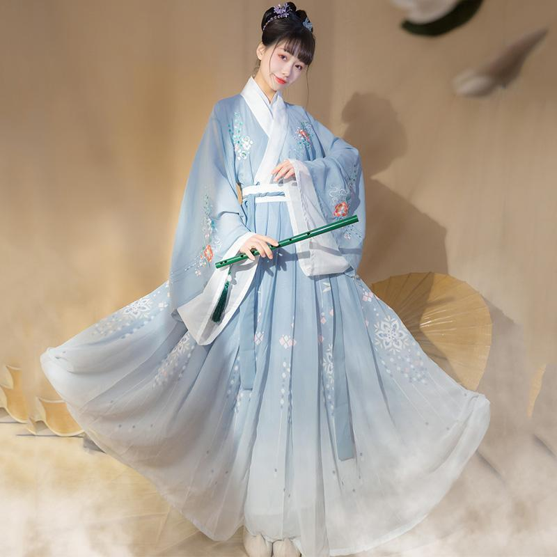New Chinese Hanfu Dress Ancient Costume Traditional Folk Dance Wear Stage Outfit Oriental Clothing Princess Dress Women DN6026