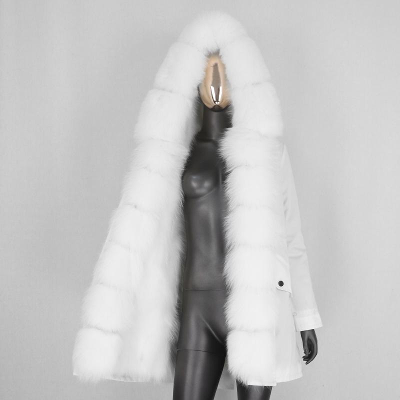 BLUENESSFAIR 2020 Lungo Giacca impermeabile Parka invernale donne reali cappotto di pelliccia naturale Raccoon della pelliccia di Fox tuta sportiva calda del Streetwear NewX1018