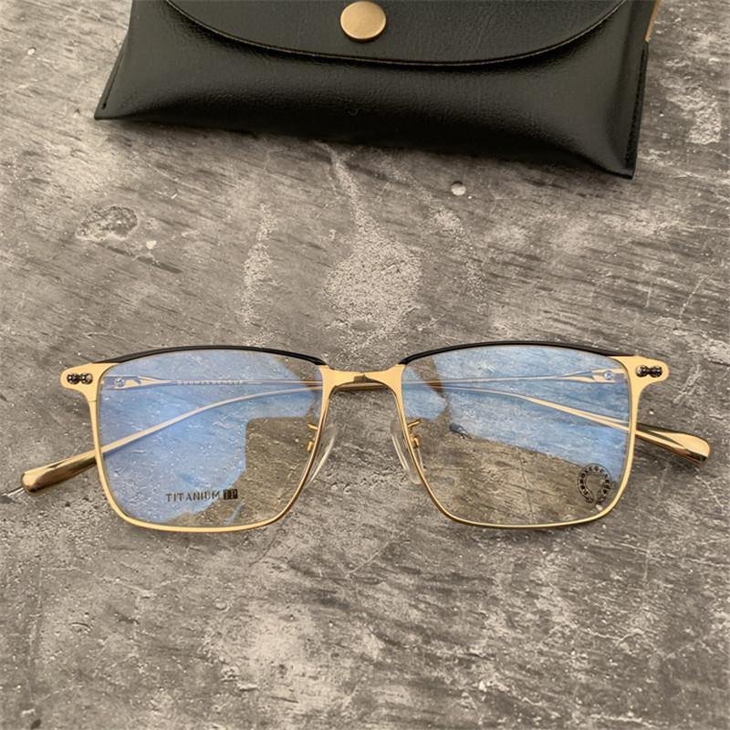 Brand Men Titanium Eyeglasses Frames Ultralight Business Square Optical Glasses Frame Spectacle Frame Myopia Glasses with Original Case