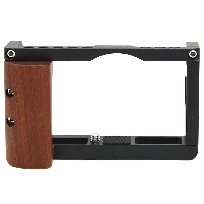 Appareil photo reflex numérique Cage Rig Cadre cas stabilisateur avec poignée en bois Poignée de main froide chaussures de montage pour G7X Mark III