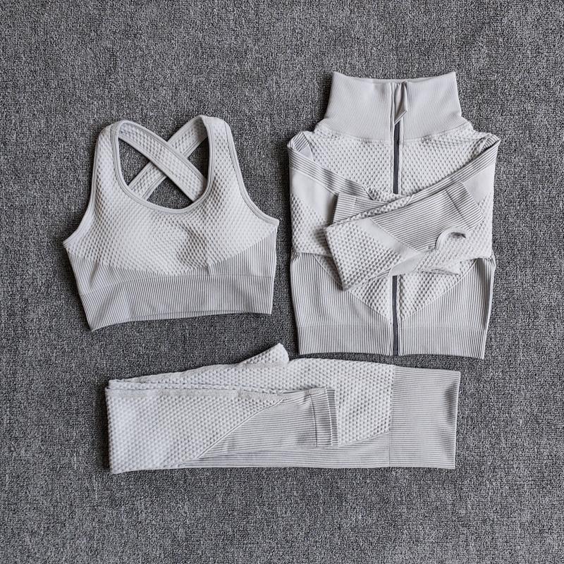 Yoga Kıyafetler Kadınlar Fitness Spor Suit Dikişsiz Set Uzun Kollu Giyim Kadın Gym Takım Elbise Koşu Giysileri Spor Giymek