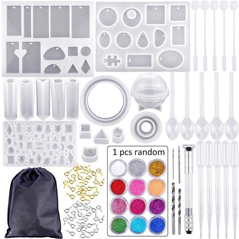 83 stücke Form Werkzeuge Kit Harz Casting Formen für Handwerk Silikon Epoxidschmuck Halskette Anhänger DIY