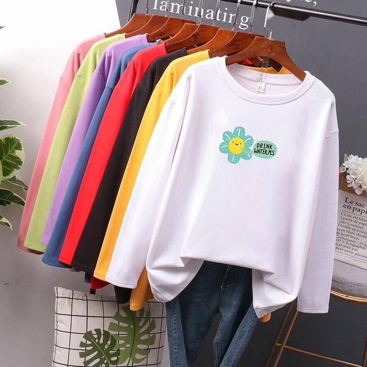 Büyük tişört kadın ilkbahar ve Kore sonbahar yeni kazak pulloverTop pulloversun baskı orta uzun Kazak yaka pamuk üst ugl0 sleeve