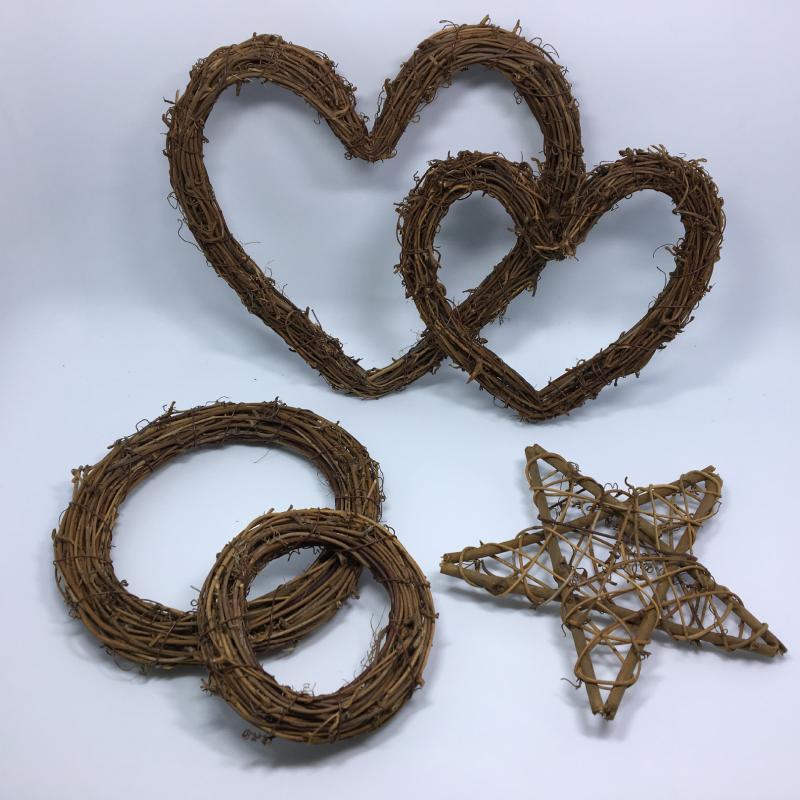 Coração da estrela Rattan Anel flores artificiais Garland secas quadro da flor para o Natal Home Decor DIY florais Coroas de casamento