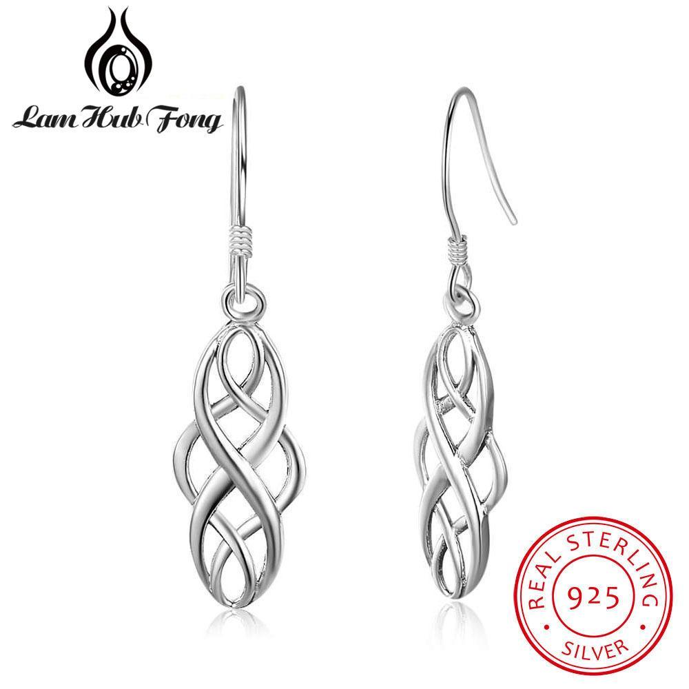Стерлинговое серебро 925 для женщин-плетеной формы 21 мм Серьги Downly Серьги Simple Ювелирные Изделия (Hub Fong)