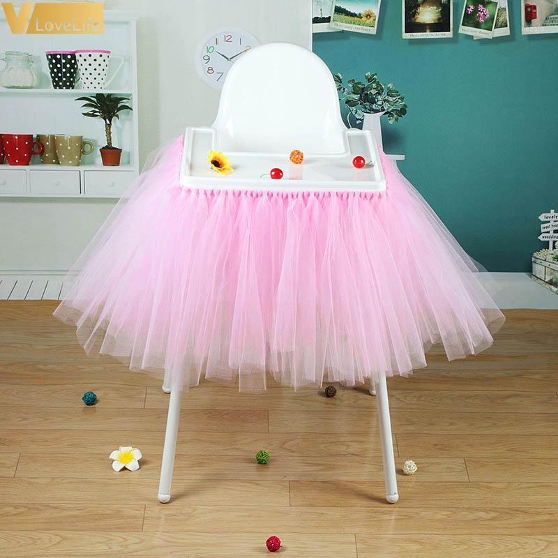 High Baby Shower Tutu Tulle Tuble Faldas 100x35cm Cumpleaños Home Textile para la mesa Silla de zócalo Inicio Textiles Party Supplies1
