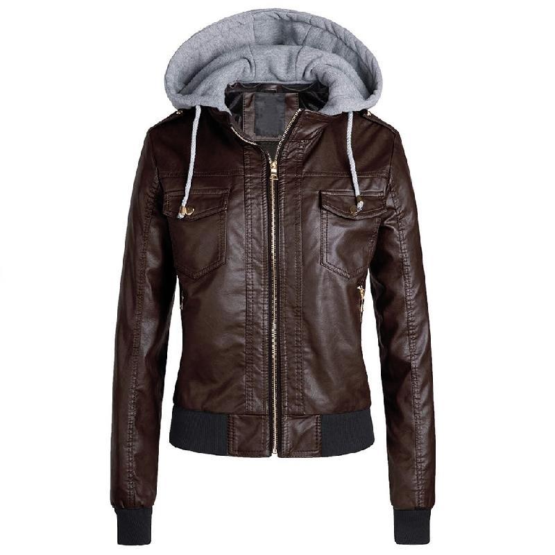 Siyah Faux Deri Ceket Kadınlar Kış Hoodies Temel Ceket Kaban Kadın Motosiklet Ceket Deri Giyim Artı Boyutu 3XL 201016