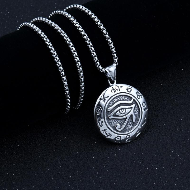 Noter Gothic Evil Eye Pendant Necklace Mens Boy Hiphop Rock Long Necklace Accessories Male Turkish Eye Punk Jewelry