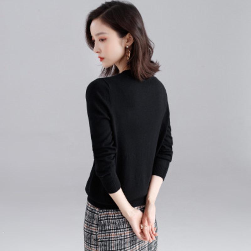 Femmes Nouveau col rond en vrac Slim Version coréenne de Pin en début de l'automne Primer Shirt Femme Pull