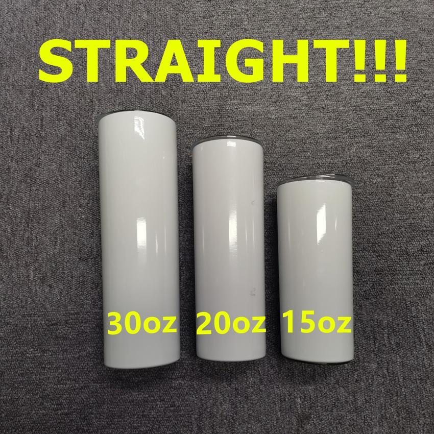 Düz! 15oz 20 oz 30 oz süblimasyon saman paslanmaz çelik su şişeleri ile düz bardaklar Çift yalıtımlı bardaklar süt kupalar A12