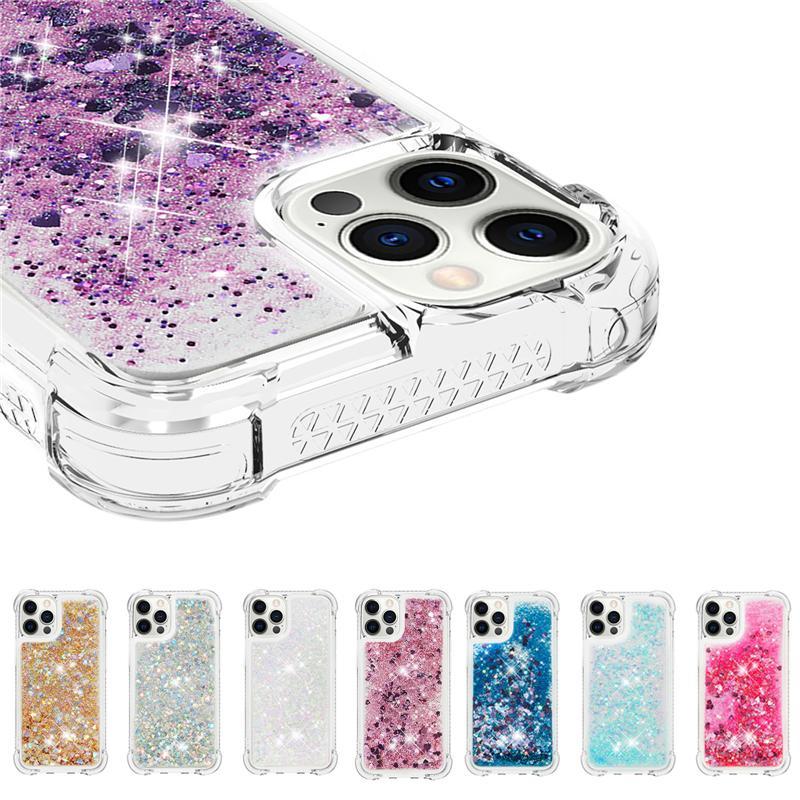 Bling Bling Quicksand iPhone 12 미니 11 Pro Max Cover Case Anti-Drop TPU Iphone XR 8 Plus에 대 한 클리어 전화 케이스
