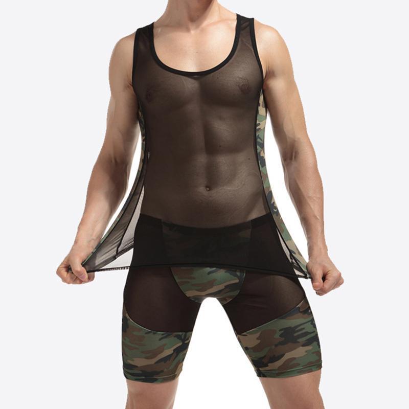 New Sexy Men's Net Mesh Camo Boxer Shorts Men Underwear Sets Tank Tops Lingerie Sleepwear Sets Erotic Gyms Fitness Tracksuit