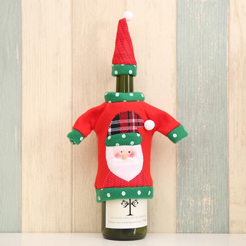 Vinho do Natal Garrafa Covers Papai Noel Boneco Elk Wine Bottle camisola Tampa Com Chapéu Ano Novo Xmas Início Decorações de Natal EWA2314