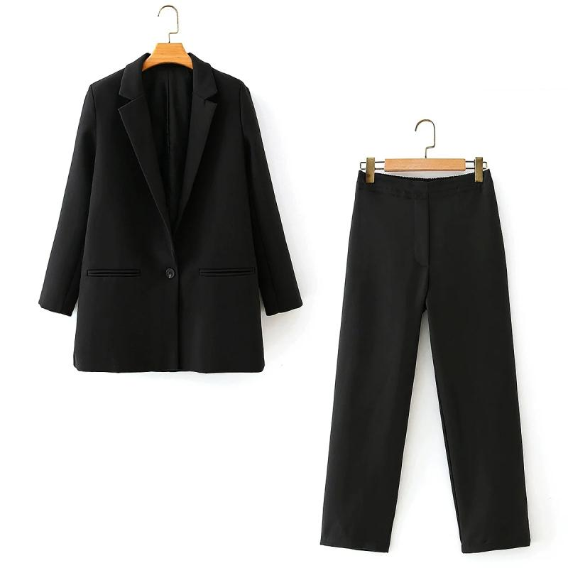 2021 Neue elegante schwarze Jacken Anzug Mode Lässige Damen Zwei Sätze Vintage Dünne Frauen Lange Blazer Mädchen Fancy Anzüge QCAC