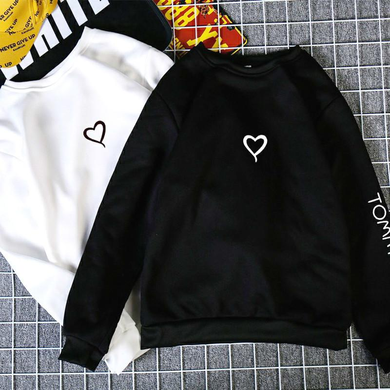 Couples Mode Lovers Printemps Automne Femmes Casual Sweat Love Heart Sweats à capuche Imprimer Sweat-shirt Hauts pour femmes