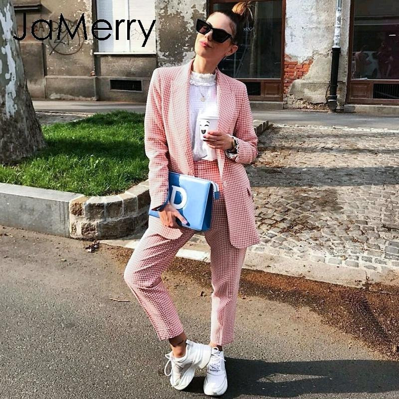 JaMerry Vintage casual women pink plaid blazer suit Autumn single breasted long sleeve female office pants suits Winter outwear 201009