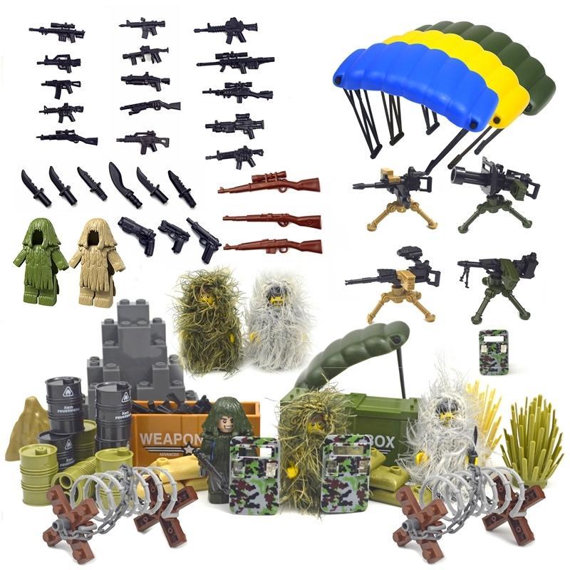 Askeri Aksesuarlar Tuğla Swat Silah Asker Silahları Çit Ghillie WW2 Ordusu MOC Parçaları Yapı Taşı Pubg Sahne Serisi