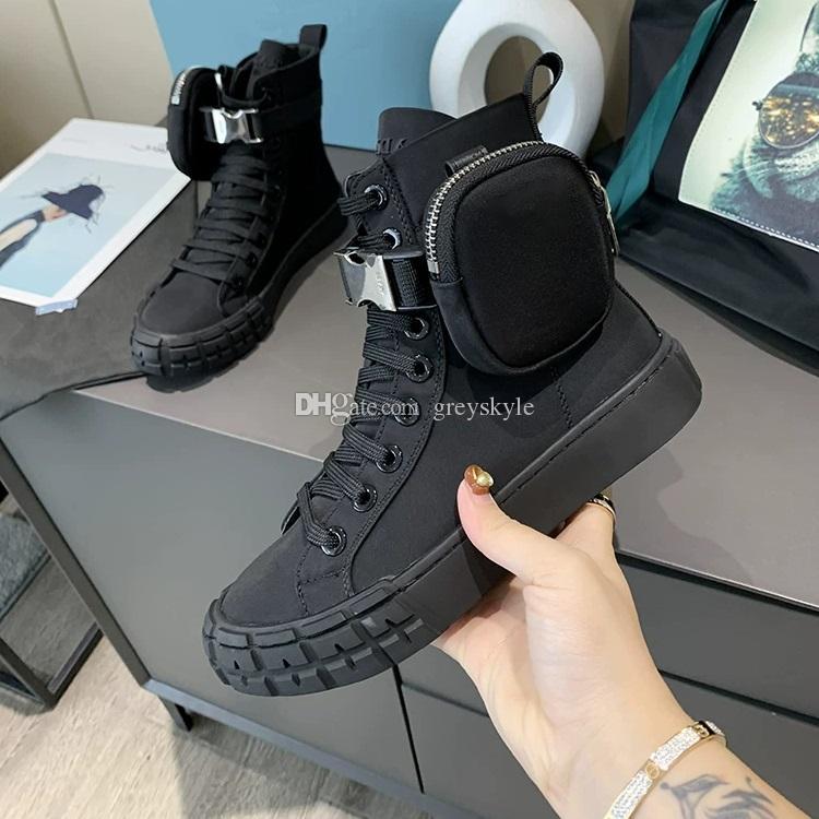 Marca borsa uomini di disegno Donne in pelle di mucca piatto High Top Skateboarding Shoe Lover Winter Snow Boots moda della tela di canapa della caviglia Martin Boots, 35-45