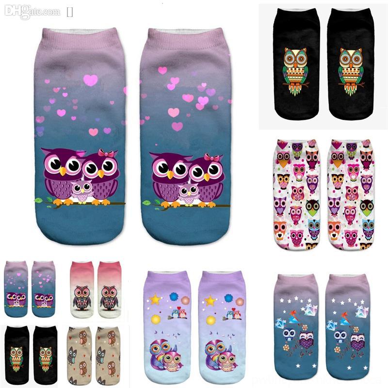 DE06H Airsfashion Cotone Cotton HARAJUKU UOMO UOMO FELICE Calzini Animali Stampa Stampa Art Pattern 2019 Dener Sock Shoe Gufo Mens Abito da equipaggio