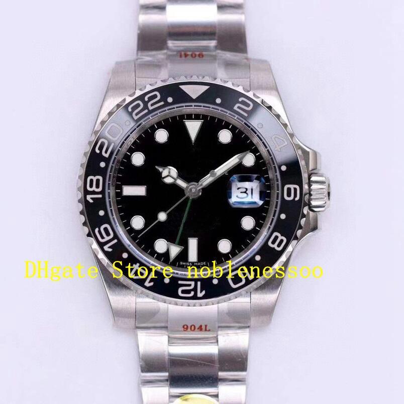 3 Renk 904L Çelik N Fabrika Cal.3186 Otomatik İzle erkek Süper V11 Sürümü GMT 116710 116719 Mavi Siyah Noobf ETA Mens Saatler