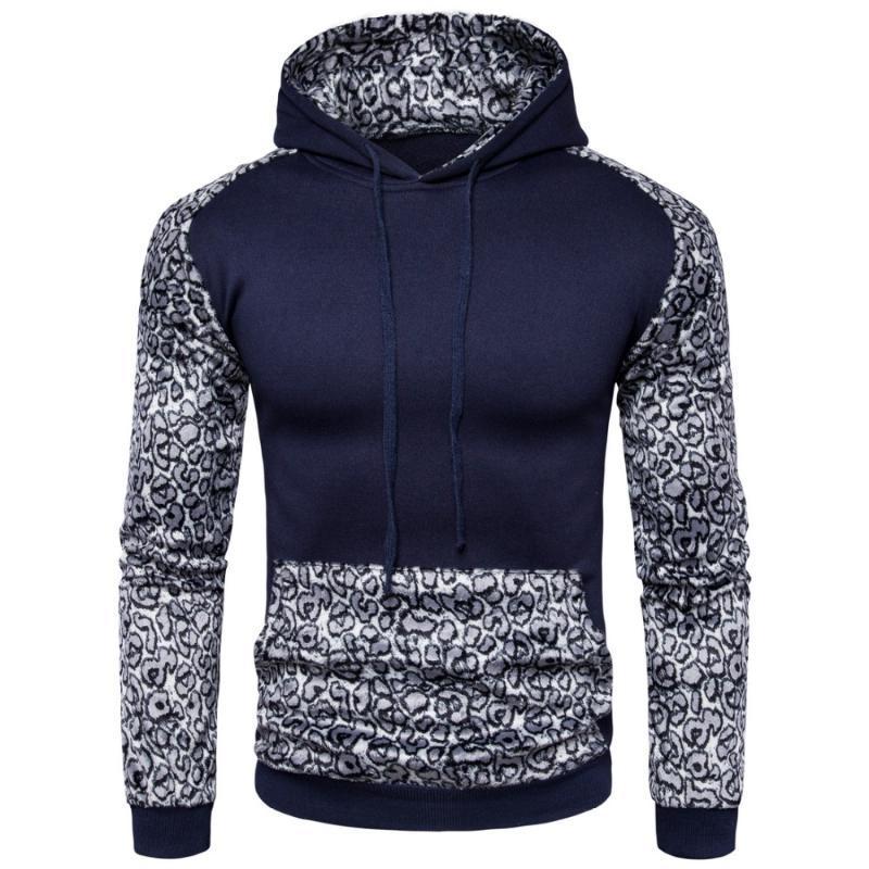 Uomini Patchwork con cappuccio Pullover manica lunga universitario di stile Leopard Weatshirts sottile casuale con cappuccio Felpe con cappuccio Tuta