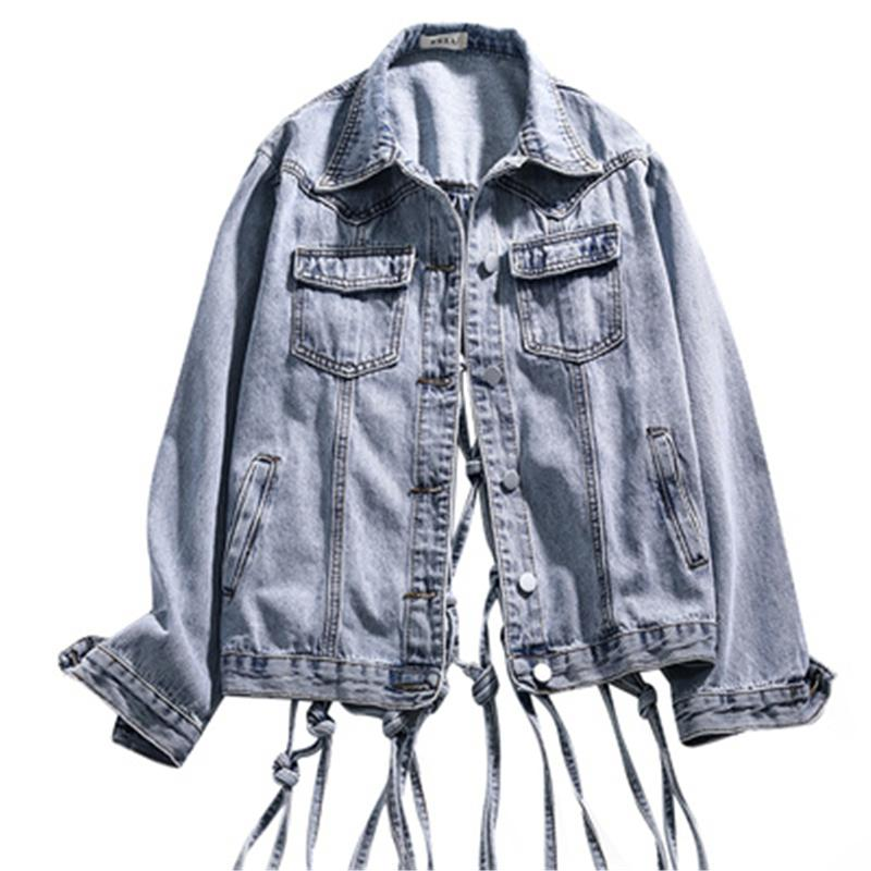 Fashion-Spring/Summer 2020 Fashion New Hollow Mesh Fringe Open Back Loose Mesh Red Denim Jacket Female Casual Jacket Top Tide 013