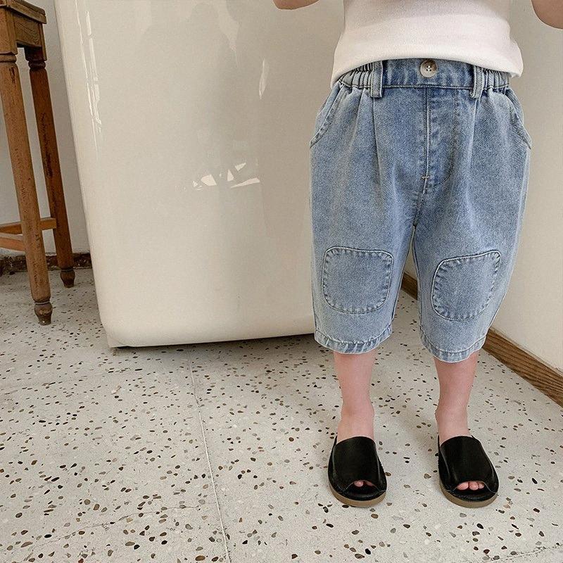 Yaz Boys Moda Patchwork Denim Diz Boyu Pantolon 2020 Kızlar Katı Renk Gevşek Beşinci Pantolon Günlük Ayakkabılar Erkek Renkli Pantolon Boy Ba Xr27 #