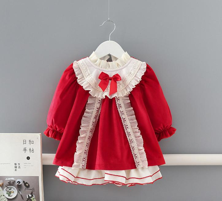 Baby Girls Christmas party dress kids red lace ruffle collar velvet dresses baby Bow thicken princess dress girls 1st birthday dress A4869