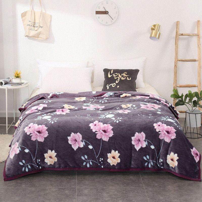Фиолетовый flowerThickened качество плюшевой Покрывало одеяло 200x230cm высокой плотности Super Soft фланель Одеяло для диван / кровать / Ca y2tn #