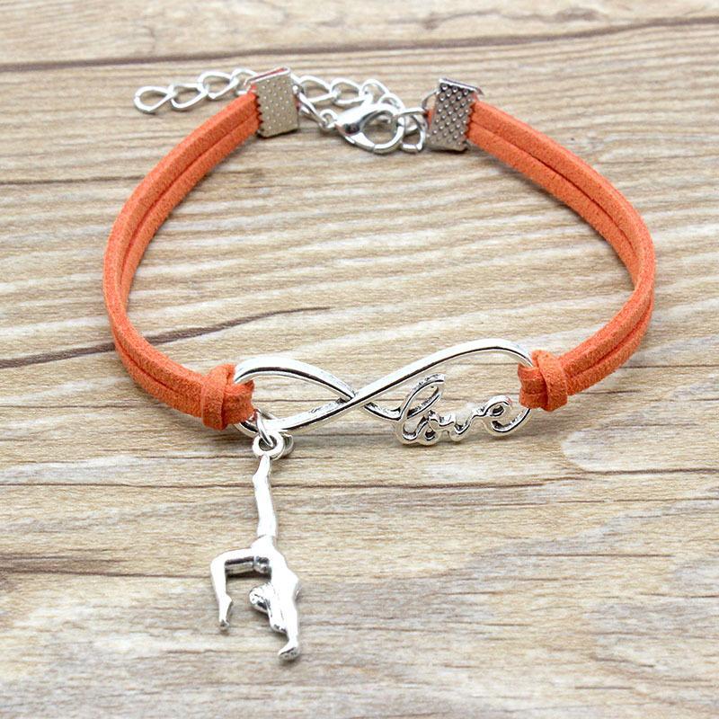 Infinity Love Gymnastics Charme Bracelets en cuir daim Chaud Rose Rose Rouge Cadeaux Pour Femmes Men Sports Bracelets