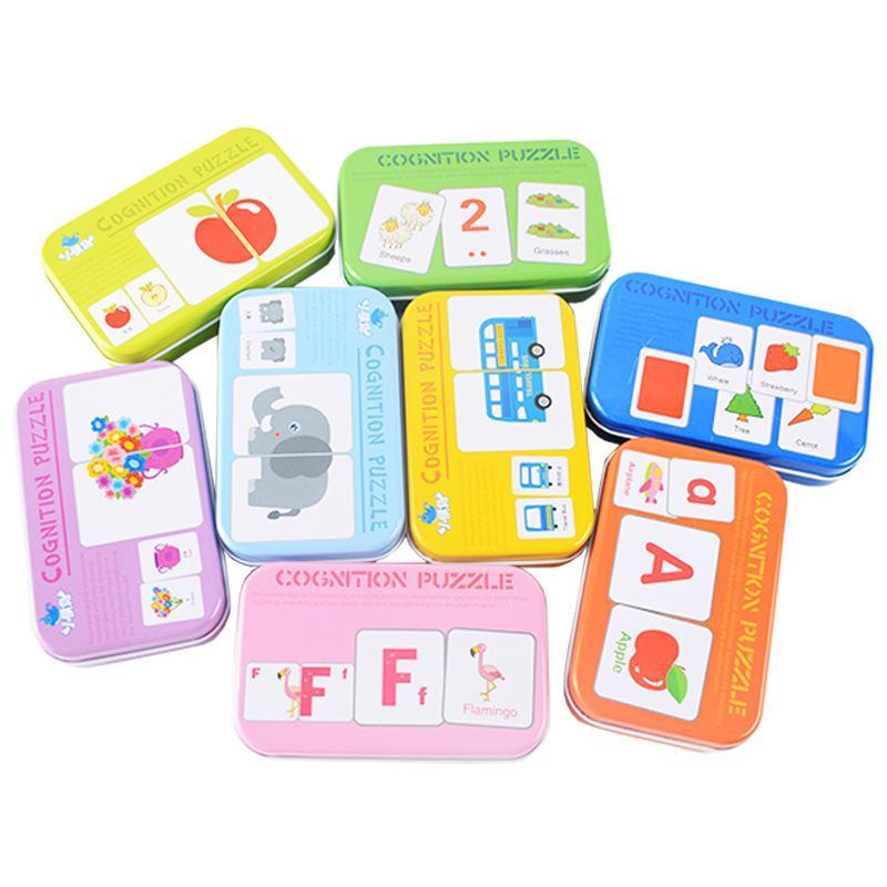 الطفل الإدراك لغز لعب طفل الاطفال الحديد مربع بطاقات مطابقة لعبة بطاقة المعرفية سيارة الفاكهة الحيوان الحياة لغز
