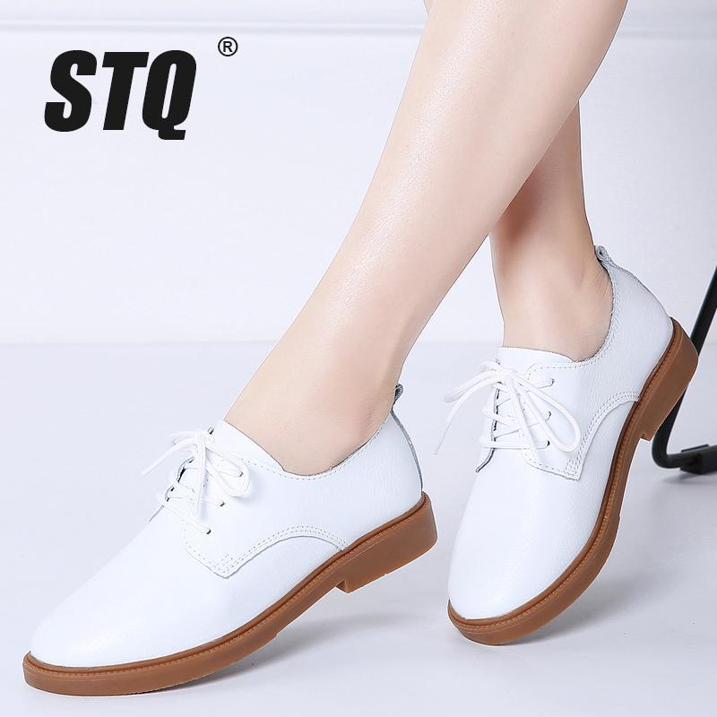 STQ 2020 Осень Женщины Мокасины Комфорт натуральная кожа Flats обувь Узелок женщина мокасины Oxfords Рабочая обувь Бесплатная доставка +838 1006