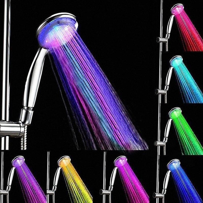 아홉 번째 세계 자동 7 색 휴대용 다채로운 LED 샤워 헤드 라운드 욕실 샤워 헤드 3VKd 번호를 물 절약 변경