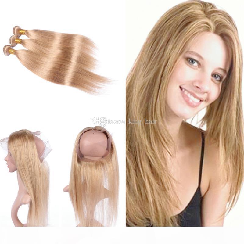 Seidige gerade Haar-einschlag Mit Pre Zupforchester 360 Frontal 4Pcs Lot Honey Blonde 27 Hair 3 Bündel mit 360 Frontal 22.5x4x2r
