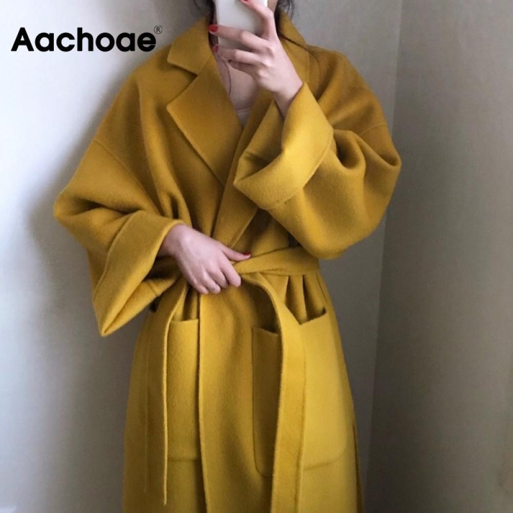 Aachoae Elegante Solid lungo Cappotto delle donne manicotto lungo del Batwing allentato tasca del cappotto Spalato Hem Chic elegante giacca invernale Autunno 201009