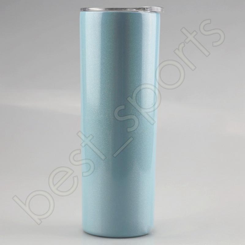 Cores inoxidáveis 7 sublimação de mar 20oz aço de aço glitter Calor CCA12617 canecas com plástico e glitter Tumblers de transporte Transferência de transporte Xerl
