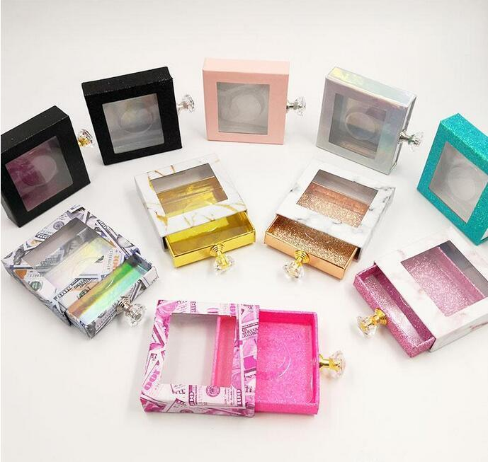 Crystal handle Square lash box alse Eyelash packaging box fake 3d mink lashes boxes faux cils strip diamond magnetic case empty DHL Free