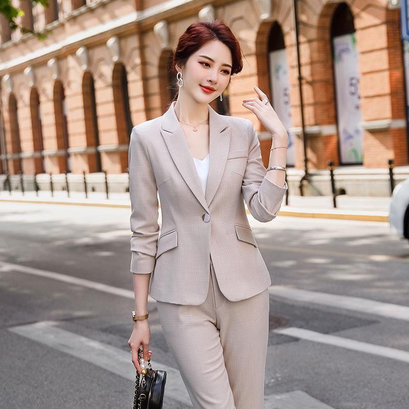 Conjuntos de oficina informal de alta calidad profesional femenino 2020 nuevo otoño e invierno chaqueta de las señoras de la tela escocesa de dos piezas de pantalones de la manera