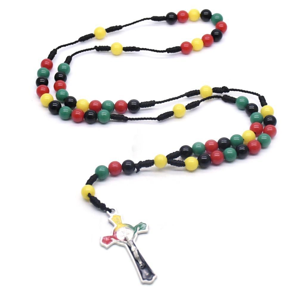 Geflochtenen Seil Bunte Kreuz Rosenkranz Halskette Jungfrau Maria religiöse Gebetskette Supplies