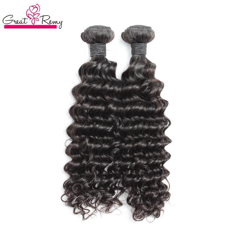 """Greatremy 100% Brazilian Human Hair Weave Double Weft 8""""~30"""" 2PCS Unprocessed Virgin Hair Natural Color Dyeable Deep Wave Hair Extensions"""